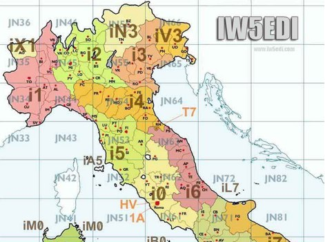 Amateur Radio Map of Italy