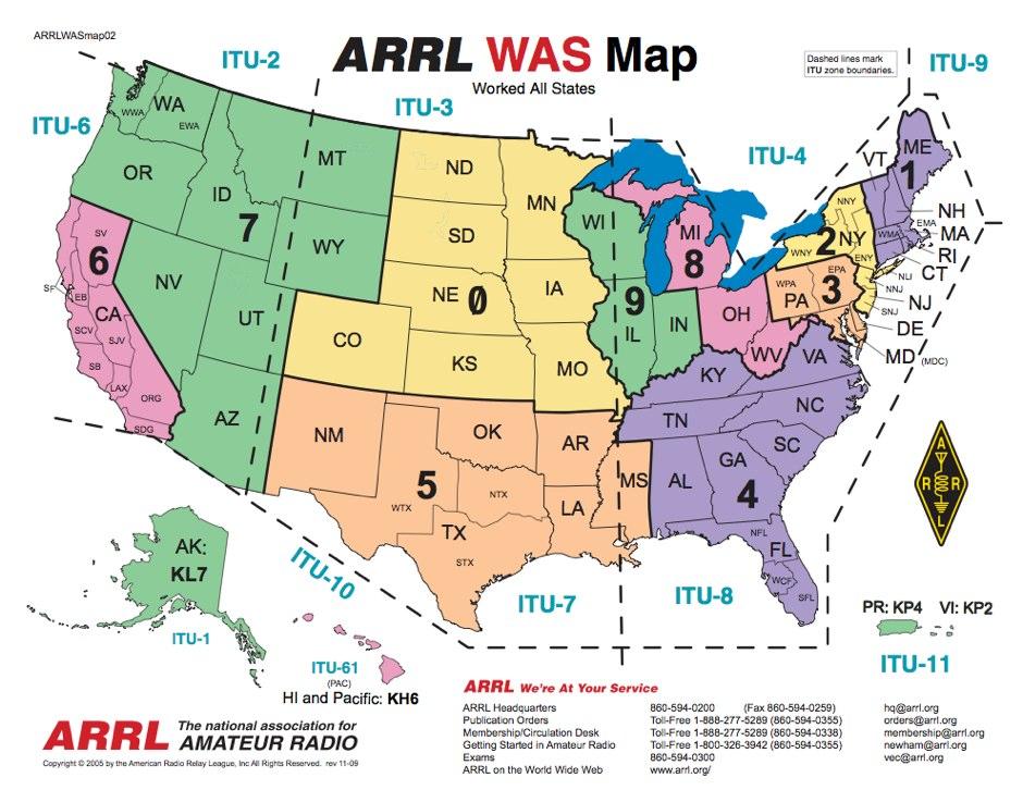 ARRL US Call District Map - Us map of ham radio call sign prefixes