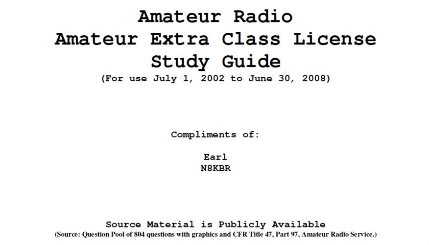 Amateur Radio Extra Class Licence