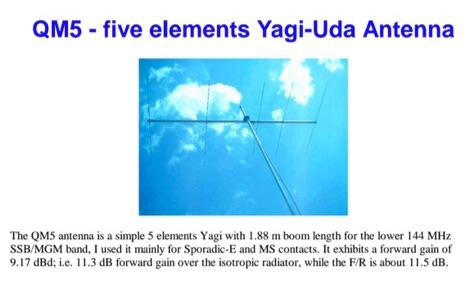 QM5 Yagi for 2 meters band