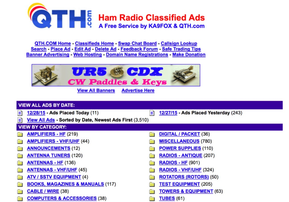 QTH.COM Ham Radio Classifieds