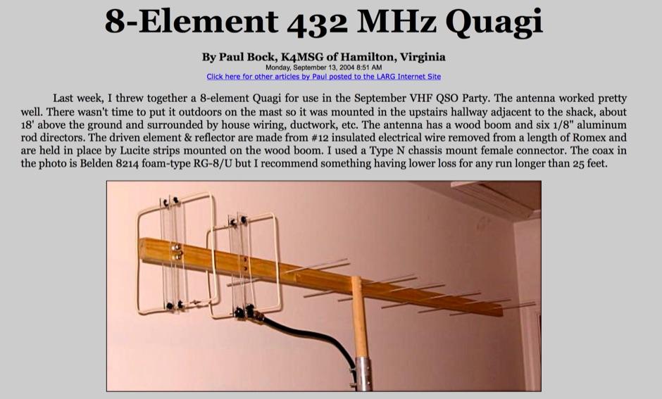 432 Mhz 8 Element Quagi Antenna