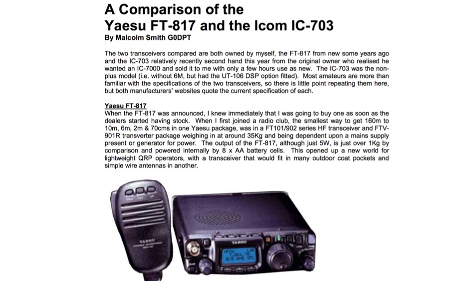 Yaesu FT-817 vs  Icom IC-703