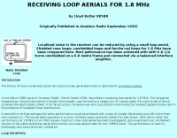 Receiving loop aerial for 1.8 MHz