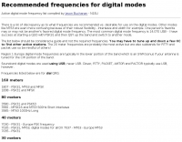 Recommended frequencies for digital modes