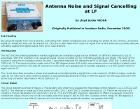 Antenna Noise and Signal Cancelling at LF