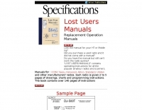 Lost users manuals