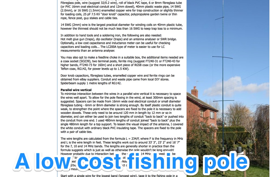 A low cost fishing pole vertical antenna