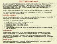 Balun measuements