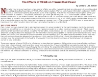 Effects of VSWR on Transmitted Power