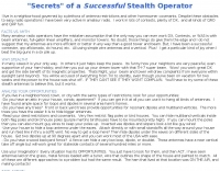 Secrets of a Successful Stealth Operator