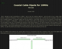 Coax cable dipole antenna for 10 Mhz
