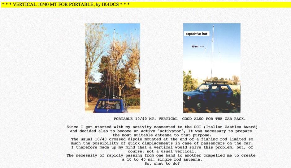A portable 10/20/40 mt vertical antenna