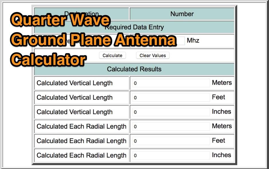 Quarter Wave GP Antenna Calculator