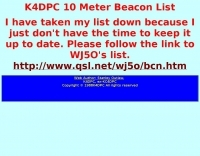 K4DPC 10 Meter Beacon List