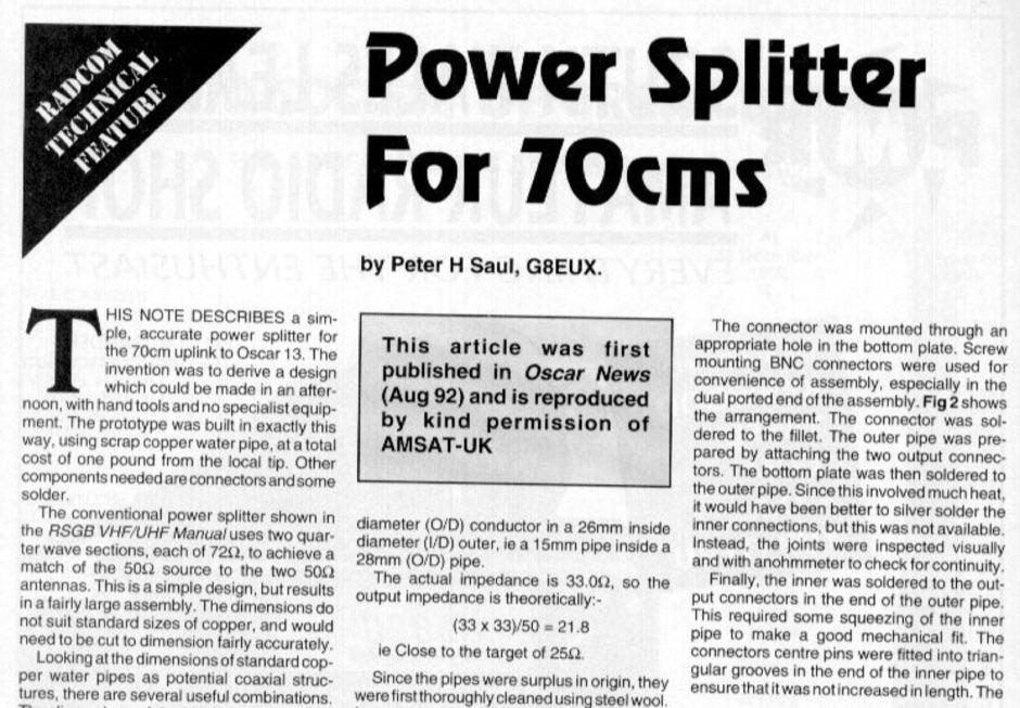 70 cm Power splitter