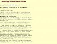 Beverage transformer notes