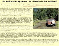 An automatically tuned 7-30MHz mobile antenna