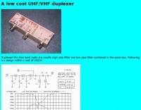 A low cost UHF/VHF duplexer