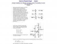 Transistor Audio Preamplifier Circuits