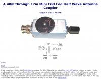 End Fed Half Wave Antenna Coupler
