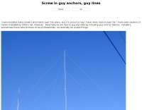 Screw in guy anchors and guy lines