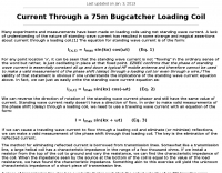 Current Through a 75m Bugcatcher Loading Coil