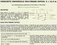Shortened multiband dipole