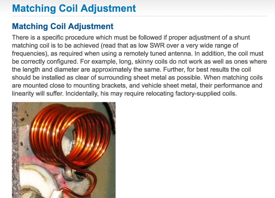 Matching Coil Adjustment