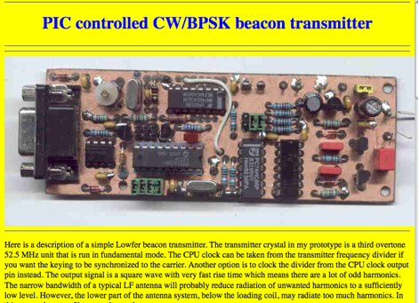 PIC controlled CW BPSK beacon transmitter