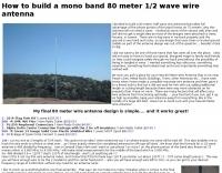 80 meter half wave wire antenna