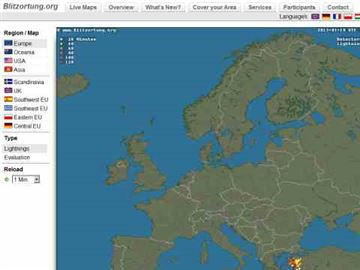 Lightning in Europe - live