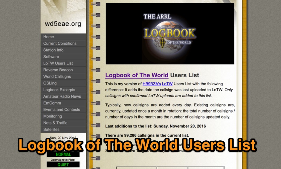 Logbook of The World Users List