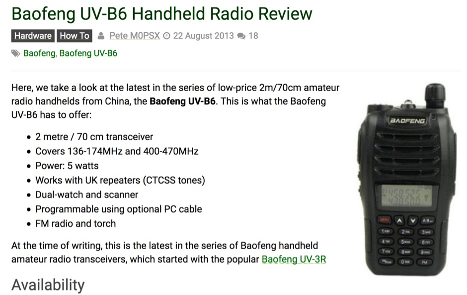 Baofeng UV-B6 Handheld Radio Review