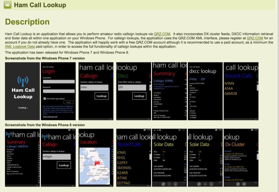 Ham Call Lookup - Windows Phone