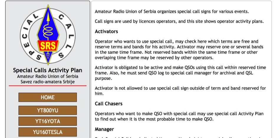 Special Call Activity Plan - Amateur Radio Union of Serbia