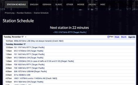 Spy numbers schedule - Resource Detail - The DXZone com