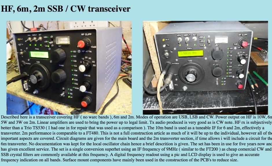 HF 6m 2m SSB CW transceiver - Resource Detail - The DXZone com