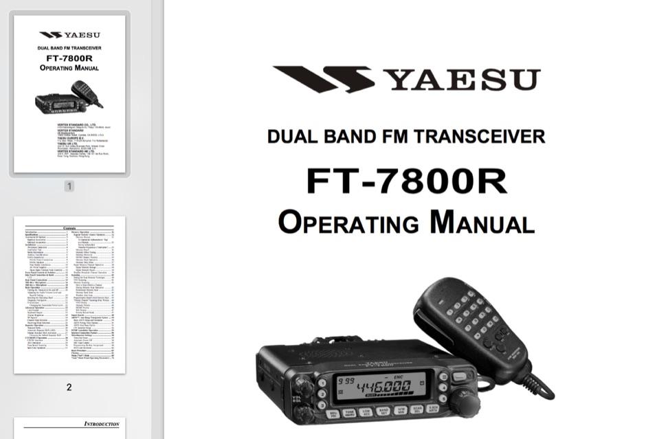 Yaesu FT-7800R Operating Manual
