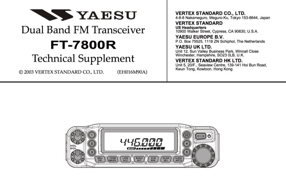 Yaesu FT-7800 Service Manual - Resource Detail - The DXZone com