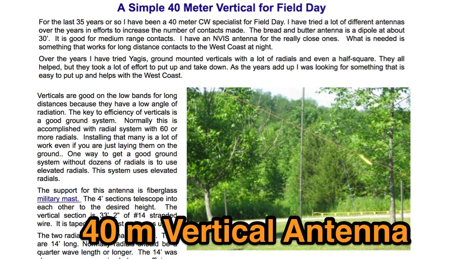 A Simple 40 Meter Vertical for Field Day