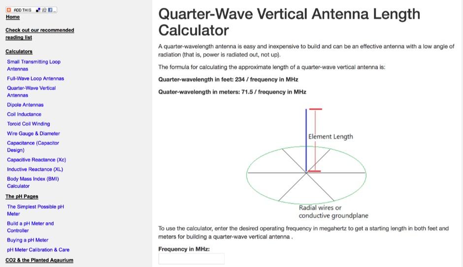 Vertical Antenna Calculator