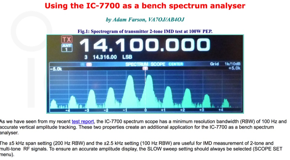 IC-7700 as a bench spectrum analyser