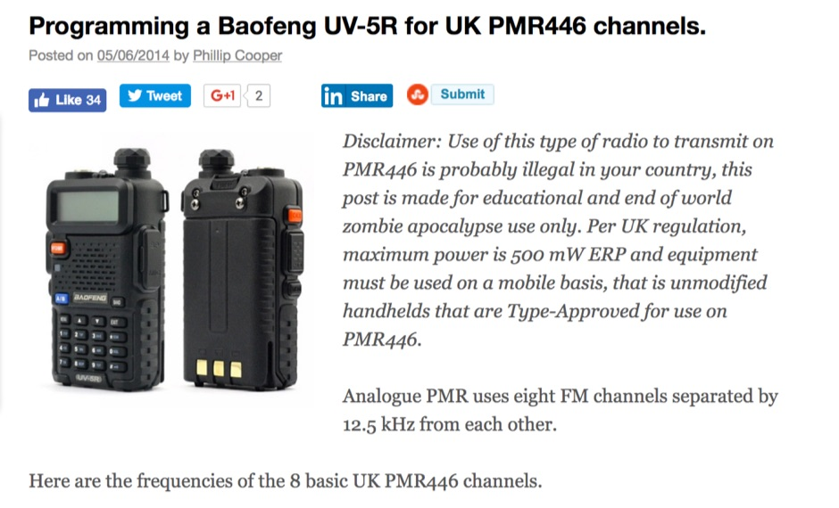 Programming a Baofeng UV-5R for PMR446