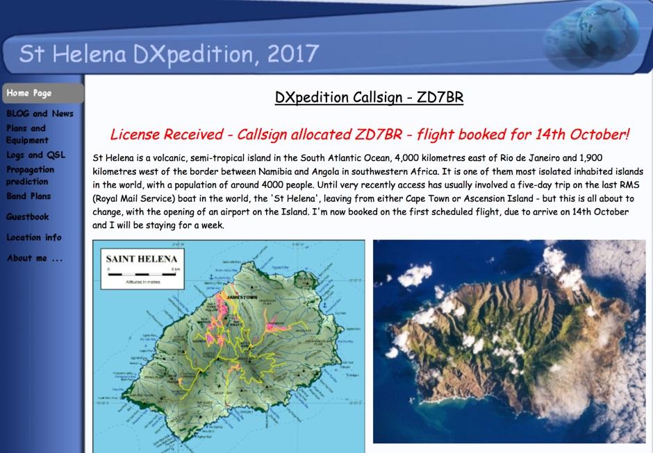 ZD7BR St Helena DX Pedition 2017