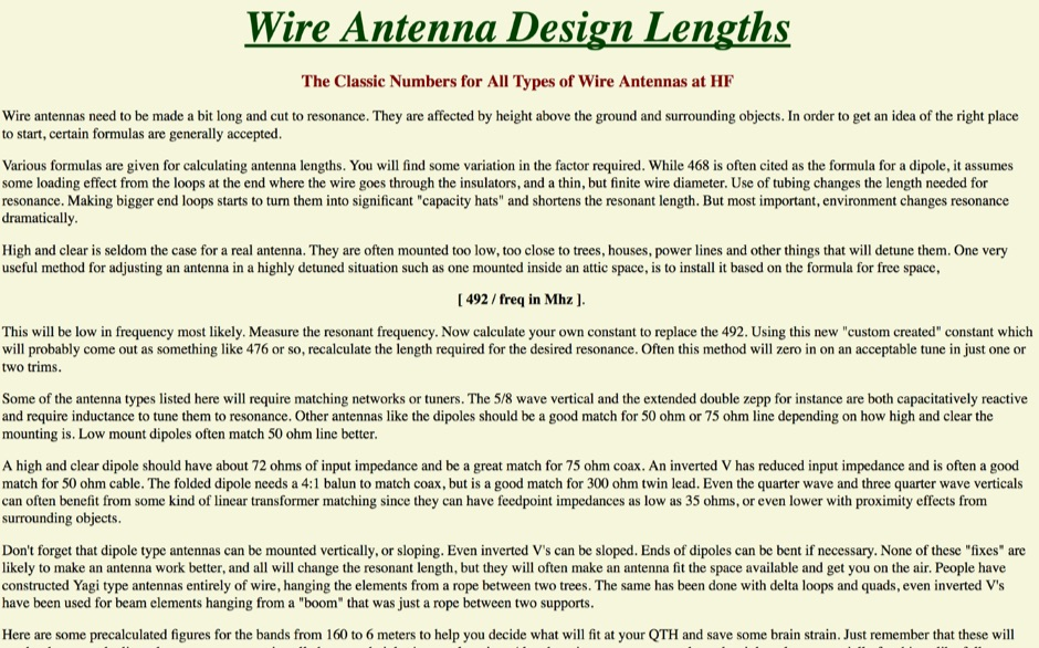 Wire Antenna Design Lengths