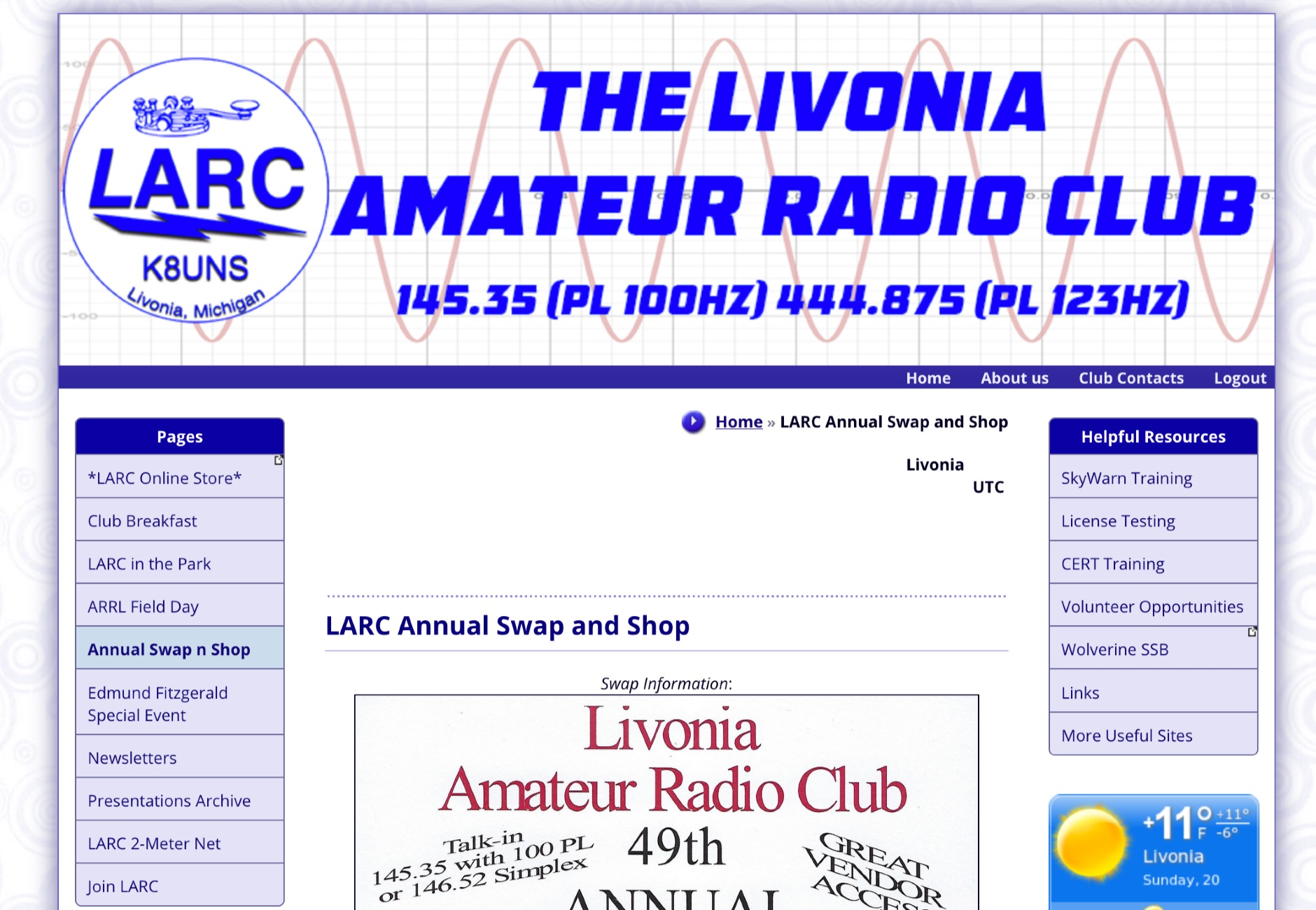 Livonia Amateur Radio Club Swap & Shop