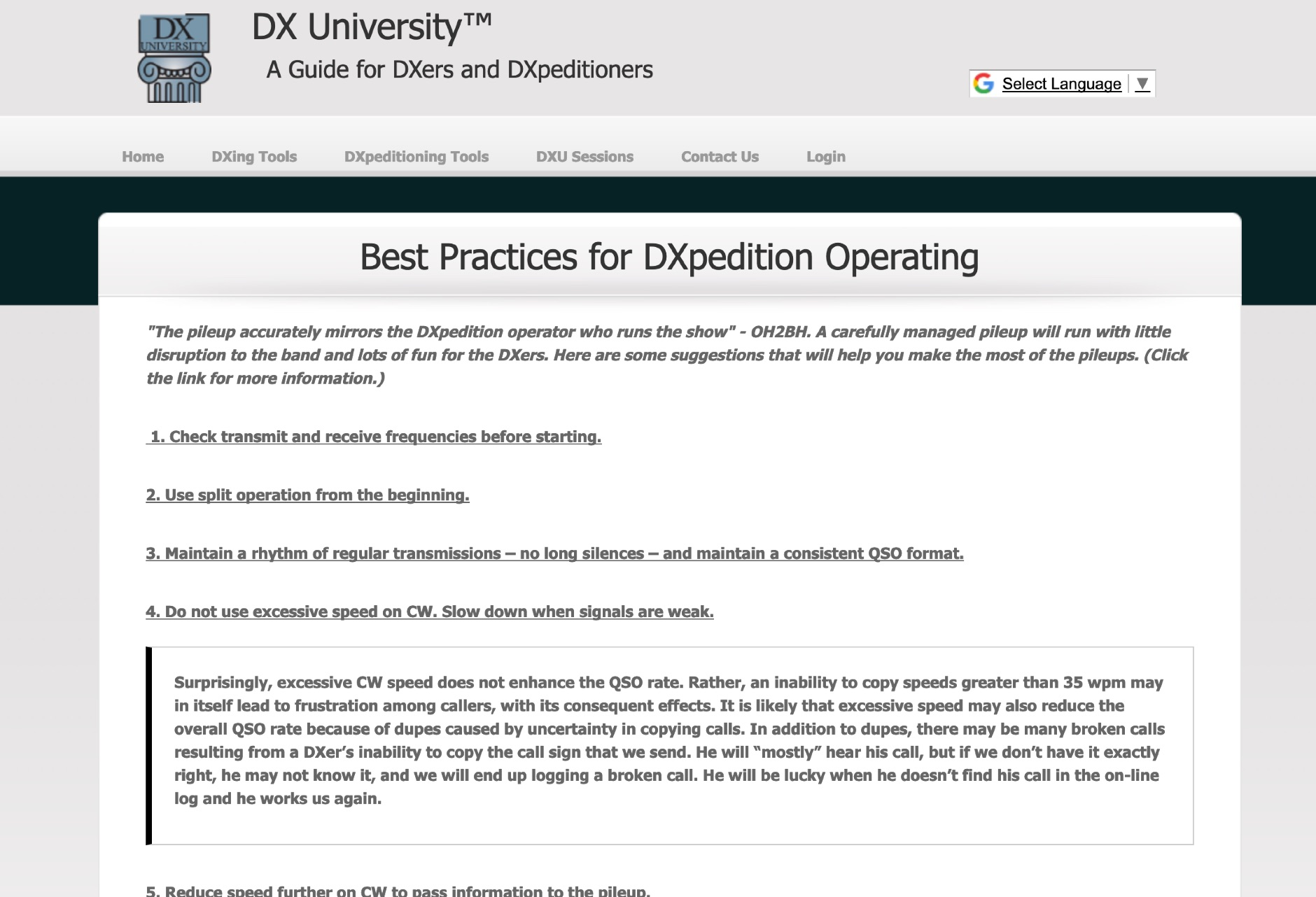 Best Practices for DXpedition Operating DX University