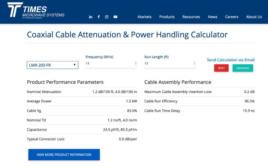 Coax Cable Attenuation and Power Handling Online Calculator