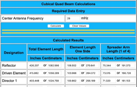 Quad Antenna On-line Calculator